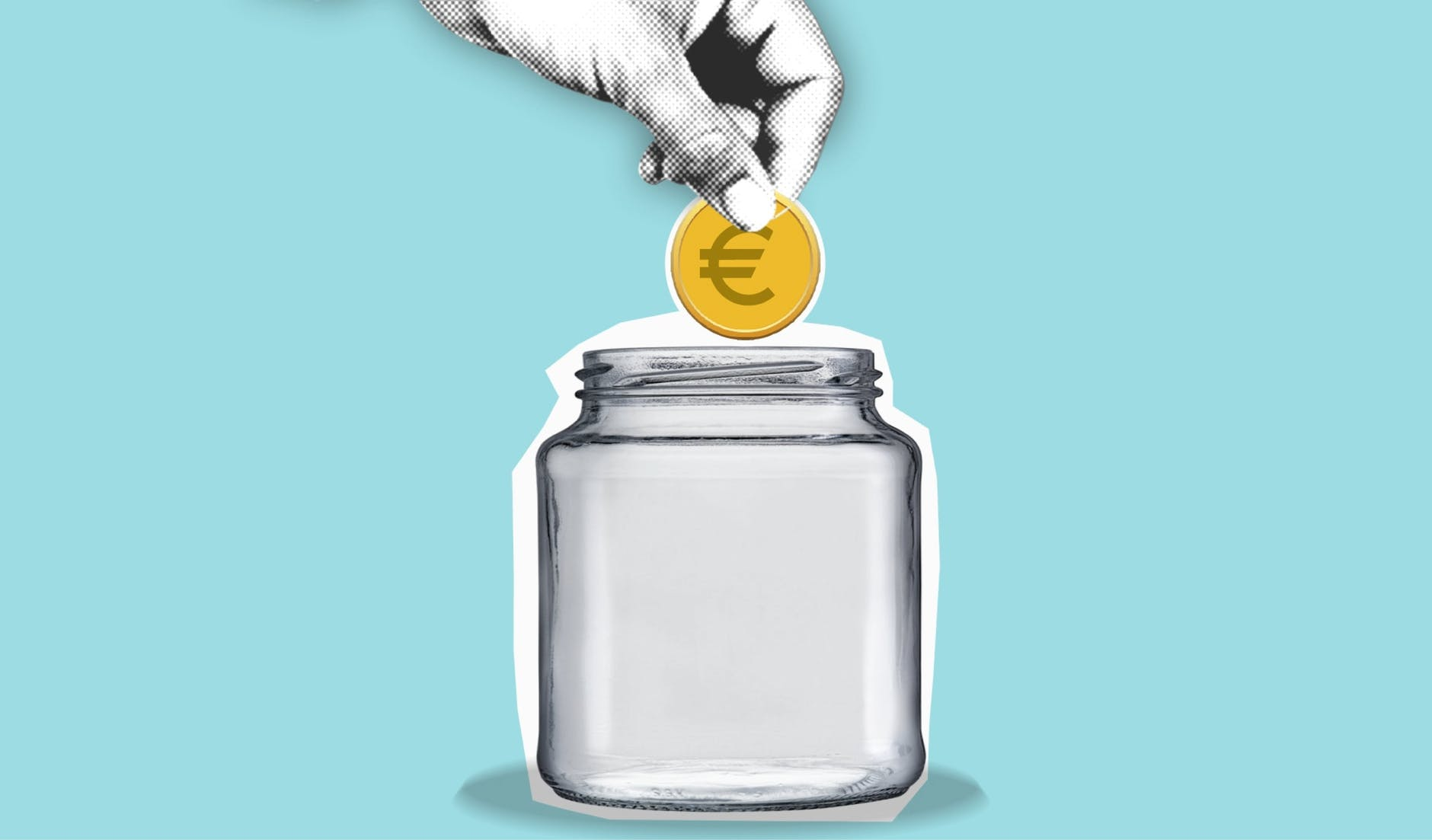 cutout paper illustration of hand with coin above jar